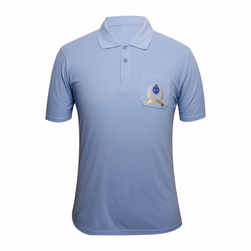 blue polo shirts with pocket on chest with printed logo