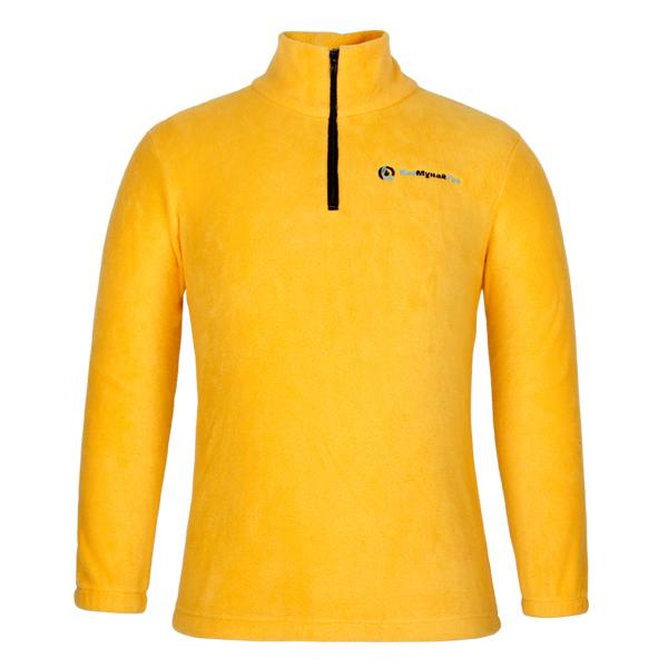 Fleece Quarter Zip Sweatshirts Yellow Color Polyester Cotton Fleece