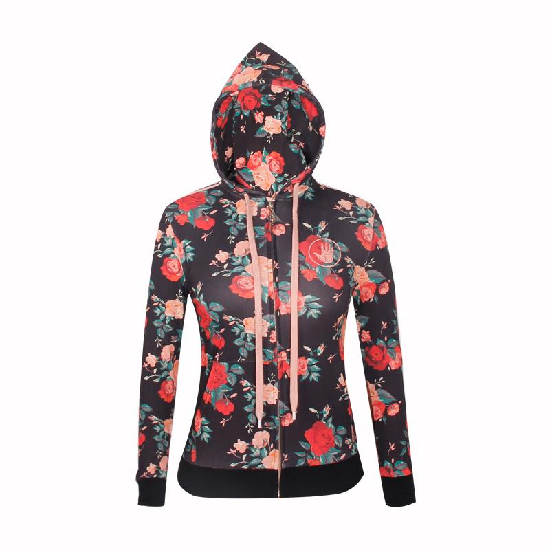 red hoodie fashion full printing ladies coat